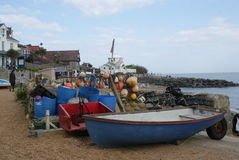 Traditionele die vissersboot voor visserij voor zeekreeften en krabben wordt gebruikt Stock Foto's