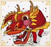 Traditionele Dragon Dance For Chinese New-Jaarviering, Vectorillustratie Stock Foto's