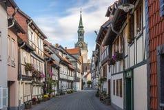 Traditionele Duitse helft-betimmerde stad Wolfenbuettel Royalty-vrije Stock Afbeelding