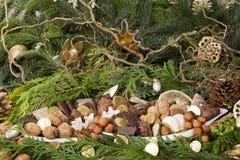 Traditionele Duitse Kerstmiskoekjes op vertoning Stock Afbeeldingen