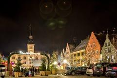 Traditionele Duitse Kerstmismarkt in Pfaffenhofen Royalty-vrije Stock Foto's