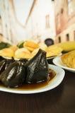 Traditionele Ecuatoriaanse voedselfig. met honingshigos Royalty-vrije Stock Foto's
