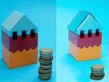 Traditionele elektriciteit versus goedkoop zonnemachtsconcept stock foto