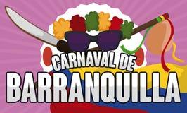 Traditionele Elementen om de Dans van de Kongo ` s in Barranquilla ` s Carnaval, Vectorillustratie uit te voeren royalty-vrije illustratie