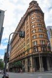 Traditionele erfenisarchitectuur en de uitstekende zandsteenvoorgevel bouw van Radisson Blu Plaza Hotel Sydney royalty-vrije stock foto