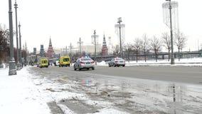 Traditionele Fietsparade in Moskou, de winter van 2018 stock video