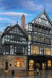 Traditionele gebouwen Tudor. Chester. Engeland stock afbeelding
