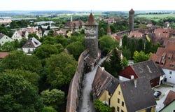Traditionele gebouwen van Rothenburg ob der Tauber, Beieren, Duitsland stock foto's