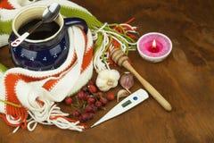 Traditionele geneeskunde tegen koude en griep Rozebottelthee Behandeling van de ziekte Royalty-vrije Stock Foto's
