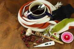Traditionele geneeskunde tegen koude en griep Rozebottelthee Behandeling van de ziekte Stock Afbeeldingen