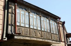 Traditionele Georgische architectuur over de Kaukasus, Tbilisi Stock Foto