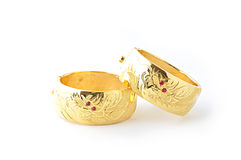 Traditionele gouden armbanden Stock Fotografie