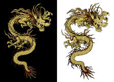 Traditionele gouden Chinese draak Stock Afbeeldingen