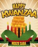Traditionele Graan, Vlag en Kaarsen voor Kwanzaa-Viering, Vectorillustratie Royalty-vrije Stock Fotografie