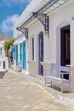 Traditionele Griekse architectuur op de eilanden van Cycladen Stock Afbeelding
