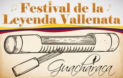 Traditionele Guacharaca met Vork voor Columbiaans Vallenato-Legendefestival, Vectorillustratie vector illustratie