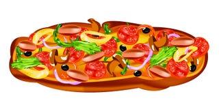 Traditionele heerlijke Italiaanse plantaardige pizza Stock Afbeelding