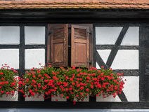 Traditionele helft-betimmerde huizen in straten van Seebach Stock Foto's