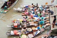 Traditionele het drijven markt, Thailand. Stock Fotografie