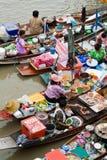 Traditionele het drijven markt, Thailand. Stock Afbeelding