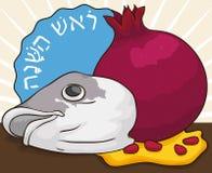 Traditionele Hoofdvissen, Granaatappel en Honing voor Joods Nieuwjaar, Vectorillustratie stock illustratie