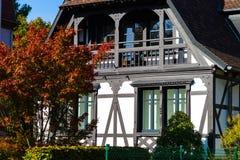 Traditionele hout-ontwerpt gouse in de Elzas, Straatsburg, herfst Royalty-vrije Stock Fotografie