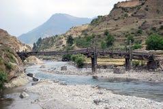 Traditionele houten brug Stock Foto's