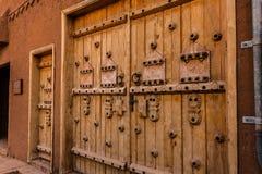 Traditionele houten deurgravures, Riyadh Provincie, Saudi-Arabië stock afbeeldingen