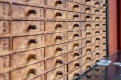 Traditionele houten dozen voor fortuinstokken Stock Foto's