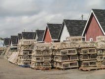 Traditionele houten zeekreeftvallen Stock Foto's