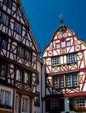 Traditionele houthuizen in de Vallei Duitsland van Moezel Royalty-vrije Stock Foto