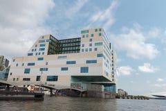 Traditionele huisboot op de kanalen van Amsterdam Royalty-vrije Stock Fotografie