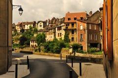Traditionele huizen, Aubusson, Frankrijk Stock Foto's