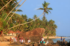Traditionele huwelijksceremonie op een strand, Unawatuna, Sri Lanka Royalty-vrije Stock Foto