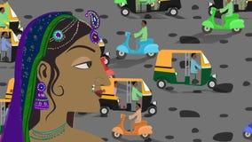 Traditionele Indische Hindoese Vrouw in een Bezige Indische Straat stock videobeelden