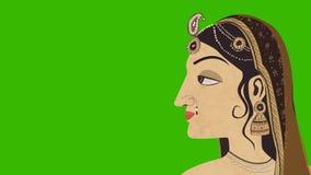 Traditionele Indische Hindoese Vrouw op het Groen Scherm stock videobeelden