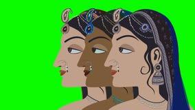 3 traditionele Indische Hindoese Vrouwen op het Groen Scherm stock video