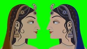 2 traditionele Indische Hindoese Vrouwen op het Groen Scherm stock footage