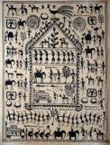 Traditionele Indische stammenkunst op zijde Stock Afbeeldingen