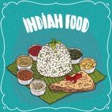 Traditionele Indische voedselrijst met kruidensausen royalty-vrije illustratie