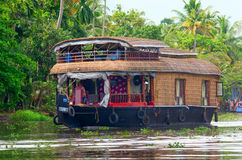 Traditionele Indische woonboot in Kerala, India Royalty-vrije Stock Fotografie
