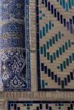 Traditionele Islamitische ornamentdetails Oezbekistaanse Architectuur Details van oude muren van de bouw met met de hand gemaakte stock foto's