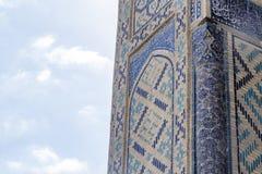 Traditionele Islamitische ornamentdetails Oezbekistaanse Architectuur Details van oude muren van de bouw met met de hand gemaakte royalty-vrije stock afbeelding