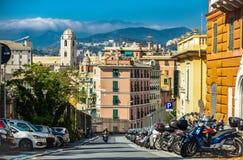 Traditionele Italiaanse architectuur in Genua Italië royalty-vrije stock afbeelding
