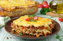 Traditionele Italiaanse lasagna's stock fotografie