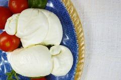 Traditionele Italiaanse mozarellabuffels met tomaten en basilicum o royalty-vrije stock afbeelding