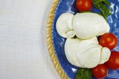Traditionele Italiaanse mozarellabuffels met tomaten en basilicum o royalty-vrije stock afbeeldingen
