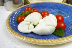 Traditionele Italiaanse mozarellabuffels met tomaten en basilicum o stock afbeeldingen