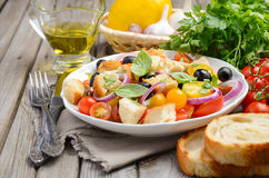 Traditionele Italiaanse Panzanella-salade met verse tomaten en knapperig brood royalty-vrije stock foto's