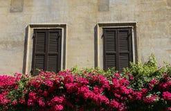 Traditionele Italiaanse vensters met blinden in één van de huizen o stock fotografie